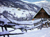 Le village d'Allos sous la neige, hiver 1972-73